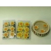 Floating Candle with beautiful shape of flowers yellow  colours with inside orange design.6 pcs