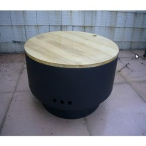 Revolving Fire pit for garden patio with wood cover, size 60 x 60 x 34.50cm