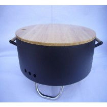Revolving Fire pit for garden patio with wood cover and legs size 60 x 60 x 34.50cm.