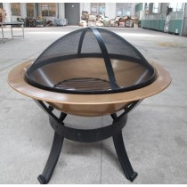 """Round Stone Fire Pit With Lattice Bowl,30"""""""