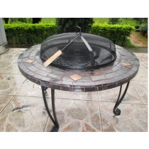 Round stone fire pit for outdoor patio 34""