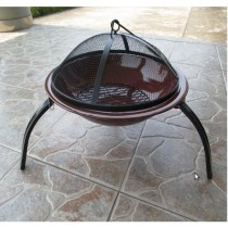 "Fire pit for garden patio, size 56cm Dia. x 39cm"" H, with brone porclean enemal Steel Bowl"