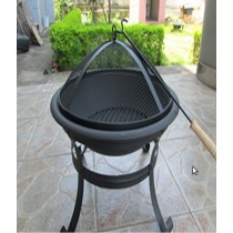 Fire pit for garden with mess cover, size 54.5 x 54.5cm