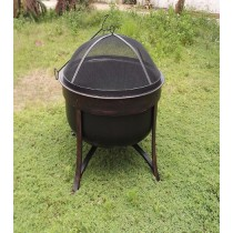 "Large 32"" Steel Cauldron Fire Pit for outdoor patio"