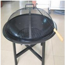Fire pit for garden patio with PVC cover and legs, Size 71 x 71 x 54cm