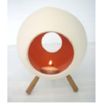 Large Ceramic Candle Holder with 3 wooden legs-ROUND Shape in RED/ORANGE