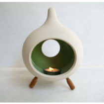 Drop shape-RED/ORANGE Small Ceramic Candle holder with 3 wooden legs