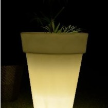 Small Slim Line White Marble Finish Planter With LED Light height 600mm