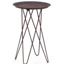 Iron Accent table with copper antique finish, Size 46x46x51 CM