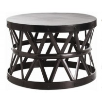 Iron stool with powder coated black color, size 71x71x43.25 CM