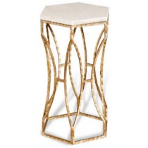 Iron stool with white marble, Size 30.5x30.5x46 CM