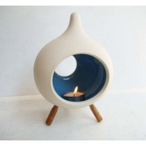 Large Ceramic Candle Holder with 3 wooden legs-DROP Shape