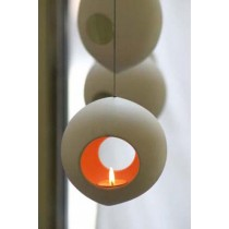 Large Light Seed Hanging Candle Holder-Round Shape - Red / Orange