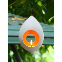 Large Light Seed Hanging Candle Holder-Egg Shape - Red / Orange