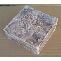 Leaf Design Shabby Chic Whitewashed Wooden Box