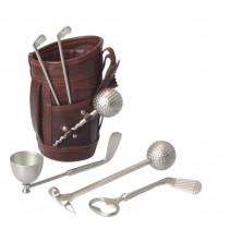 Leather golf bar set,size L 10.1 x B 22.9 x H 19.5 cm