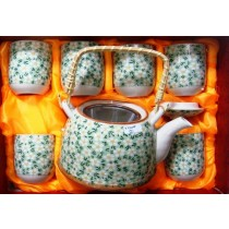 Light Green Floral Tea Set