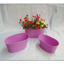 Light Purple Finish Metal Oval Flower Planter