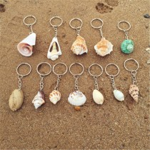 Light Yellow Natural Conch Shells key Chains