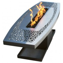 Long Heavy Stainless Steel Coffee Table Fire Pit