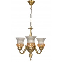 Lustrous Gold 3 Light Mini Antique Brass Chandelier