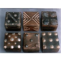 "Mango Wood Box Decorative Silver & Golden Metallic Work 4''x 4"""