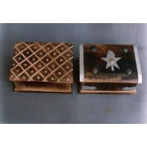 """4'' x 6""""Two Mango Wood Box With Silver Metallic Work"""