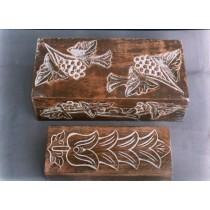 "8'' x 4""Medium Decorative White Hand Carved Mango Wood box"