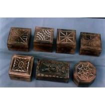 4'' X 4'' Mango Wood Curved Decorative Shape Wood Boxes