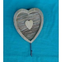 Vintage Wooden Curved Heart Wall Hook