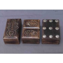 "Natural Wood Brown Metallic Work Wood Box(6''x 4"")"