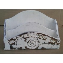 Natural Wood Shabby Chic Whitewashed Letter Rack