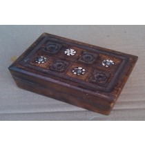 Natural Wooden Color Floral Design Wooden Box (4'' x 6'' x 2.5'')