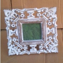 Natural Wooden Hand- Curved Whitewashed Photo Frame