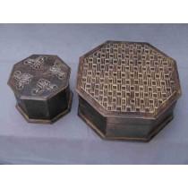 Large Brown Matte  Finish Octagonal Wooden Box