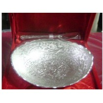 Oval Silver Plated bowl with spoon