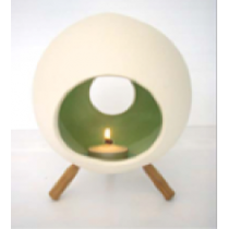 Large Ceramic Candle Holder with 3 wooden legs-ROUND Shape
