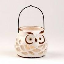 Pierced Ceramic Owl Lantern