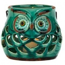Pierced Ceramic Owl Lantern with teal finish