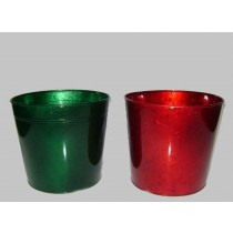 Red & Green Round 10 Inch Metal Planter