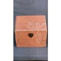 """6'' x 6""""Plain Wooden Box Grapes Design With Orange Paint"""