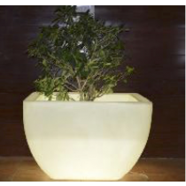 White Marble Finish Planter With CFL Lights Height 450mm
