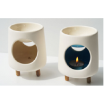 Pyramid Ceramic Oil Burner with 3 Wooden Legs with colour glazed inside
