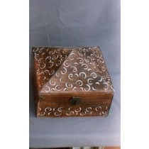 "5''x 5""Pyramid Wooden Box With White Hand Carving"