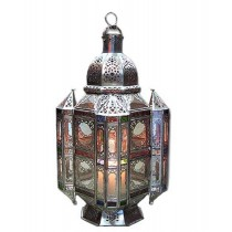 Multicolored silver coated lantern