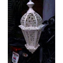 Bright white finish swim design lantern