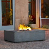 Rectangle Gray Natural Gas Fire Pit