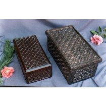 "15'' x 8'' x 5""Rectangle Mango Wooden Box With Half Moon Design"