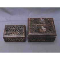 "6'' x 4"" Dark Wooden Curved Design Rectangle Wood Box"