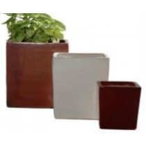 Glazed Red 13'' Square Ceramic Planter